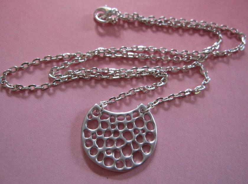 Silver half moon necklace