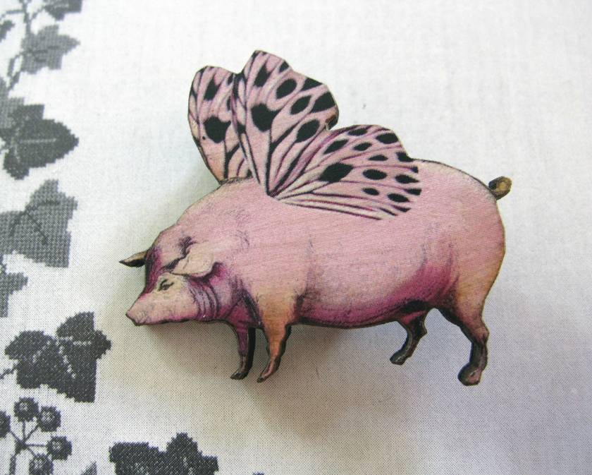 When pigs fly brooch