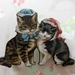 Kitsch kitties, lovecats with bonnets