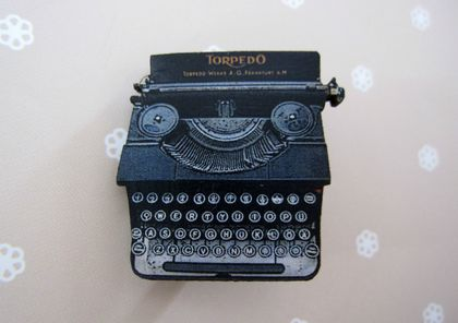 Typewriter brooch - large version