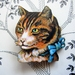 sale - Kitsch kitty brooch, tabby cat with bow
