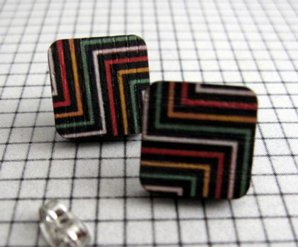 Zigzag brights on black - wooden stud earrings