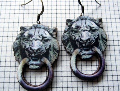 Knock knock - Vintage Lion door knocker earrings