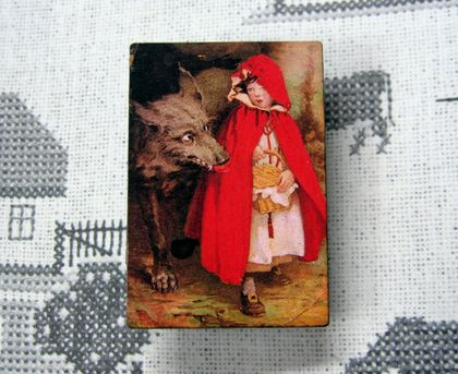 sale - Red riding hood and the wolf brooch
