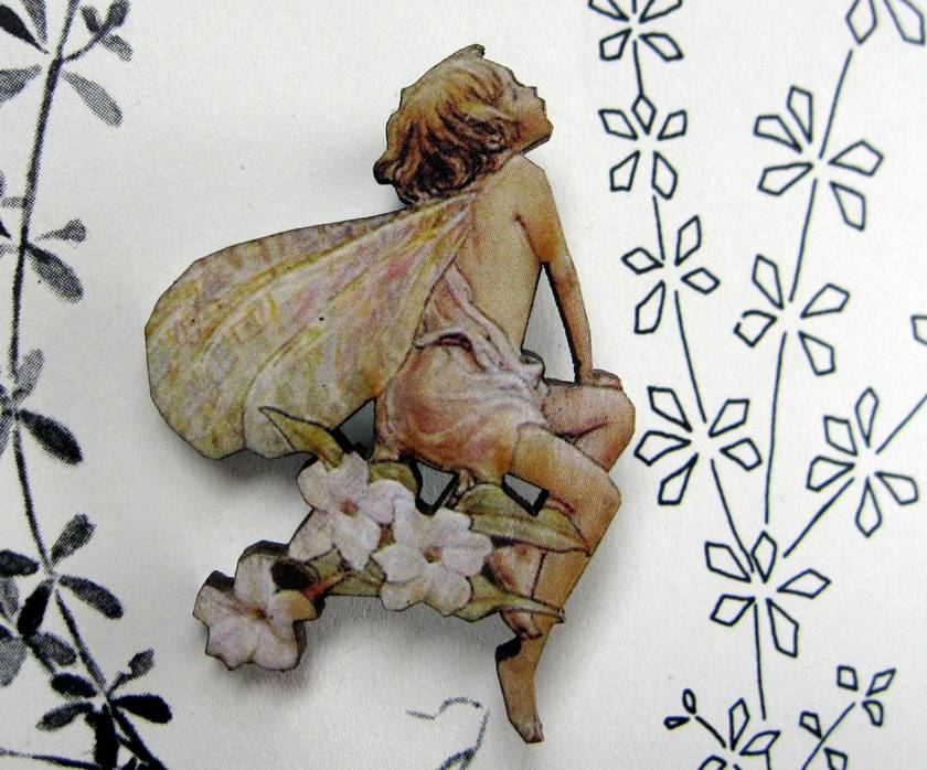 sale - Flower fairy brooch - honeysuckle