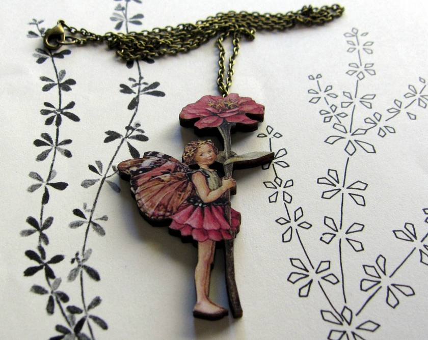 Flower fairy necklace - old fashioned rose