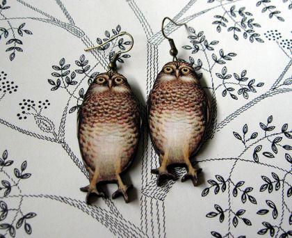 watchful owl woodcut earrings