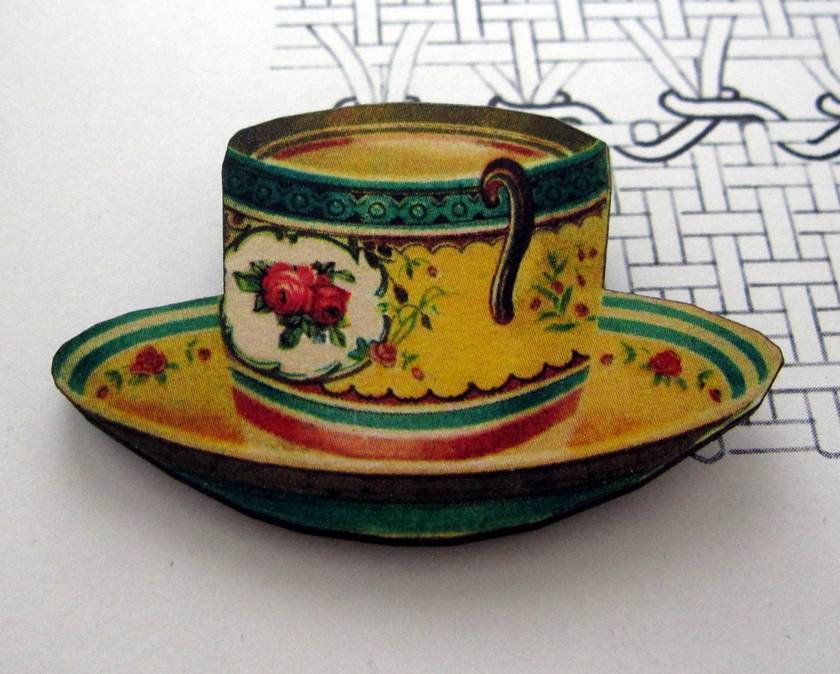 Vintage yellow teacup brooch