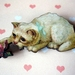 Kitsch kitty brooch - cat playing with rose