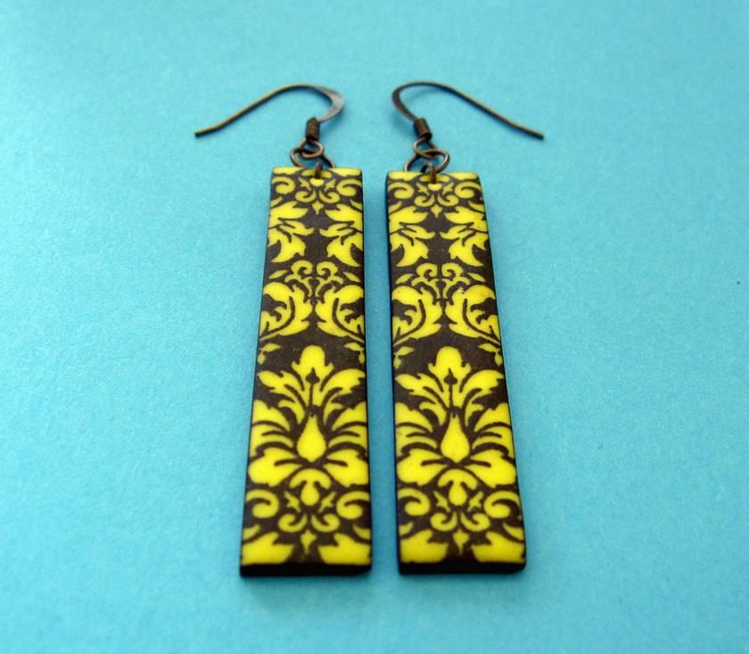 yellow and black damask earrings
