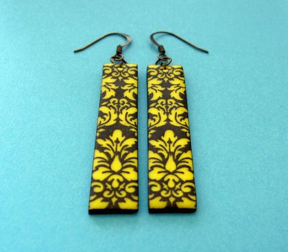yellow and black damask earrings