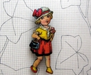 vintage girl with flowers woodcut brooch