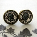 black and white floral patterned glass dome stud earrings
