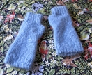 Pale blue hand knitted 100% mohair fingerless gloves