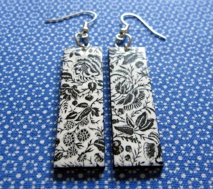 black and white tapestry earrings