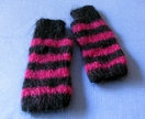 20% off with voucher code SALE - Black and magenta hand knitted 100% mohair fingerless gloves