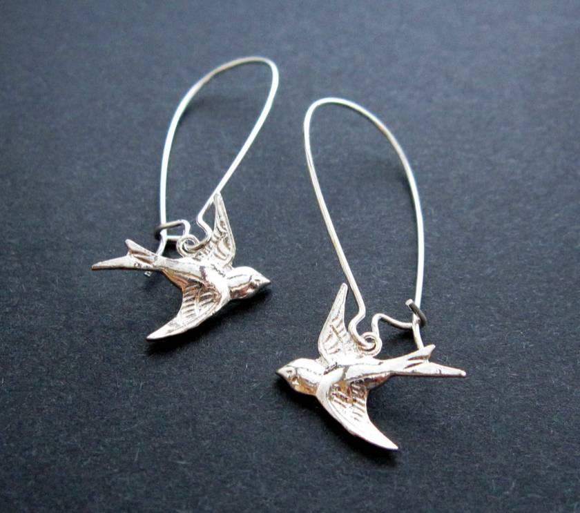 little silver bird earrings