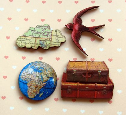 off to faraway places - woodcut magnet set