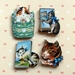 Kitsch kitties 2 - woodcut magnet set