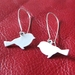 White sparrow silhouette earrings