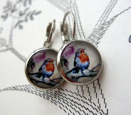 glass dome songbird earrings