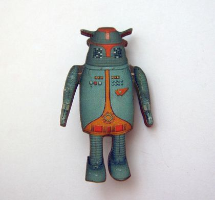 Turquoise robot brooch