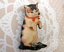 Kitsch kitty brooch, cat in shoes