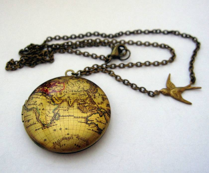 Old world map locket necklace felt old world map locket necklace gumiabroncs Gallery