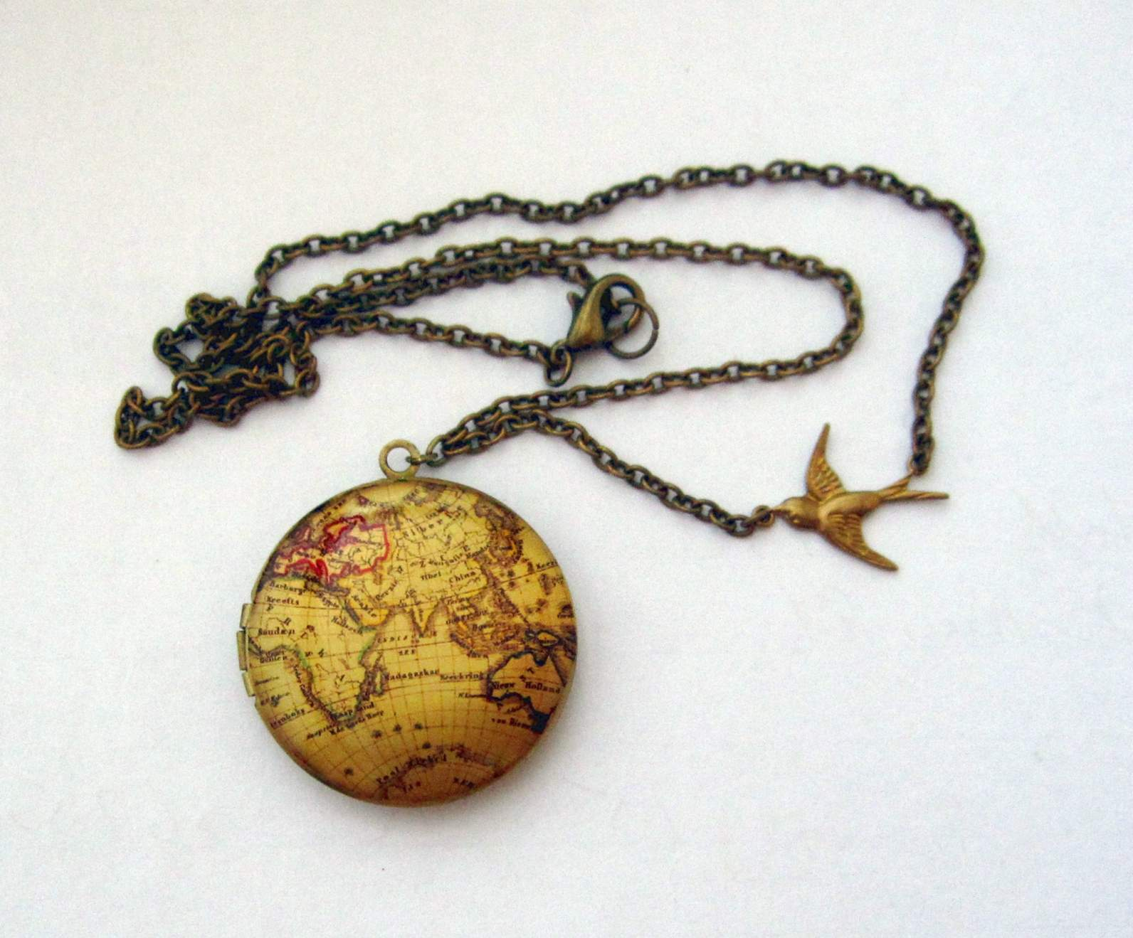 Old world map locket necklace felt old world map locket necklace previous gumiabroncs Gallery