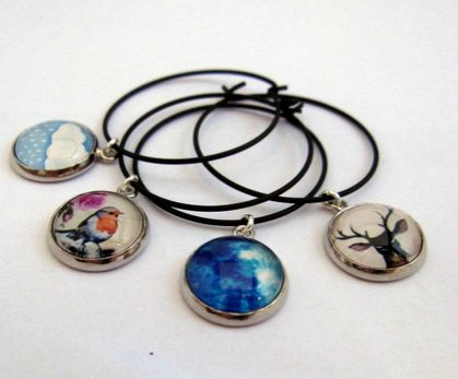 Glass dome wine glass charms