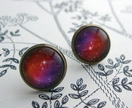 glass dome deep space pink earrings