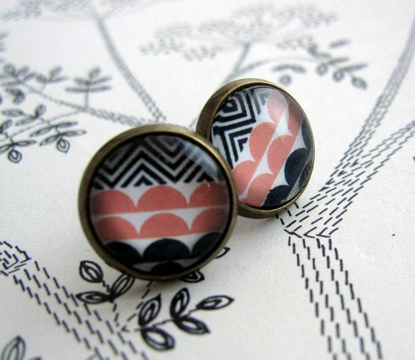 Patterned glass dome stud earrings - peachy pink, navy, black and white