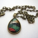 scallop patterned teardrop glass dome necklace