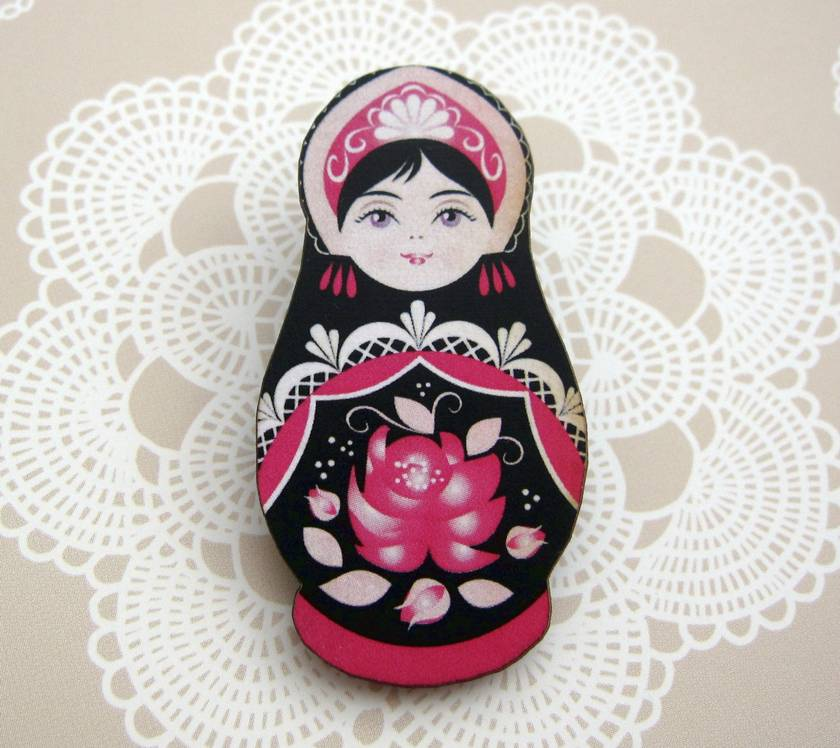 Matryoshka woodcut brooch