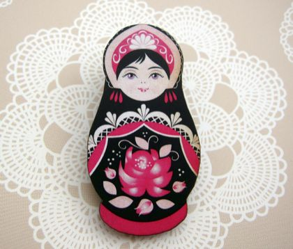 Matryoshka woodcut brooch