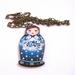 blue matryoshka woodcut necklace
