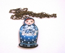 blue matryoshka woodcut necklace