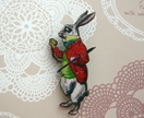 Wonderland brooch - the white rabbit