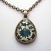 sale - blue patterned teardrop glass dome necklace