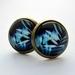 beautiful blue foliage design stud earrings