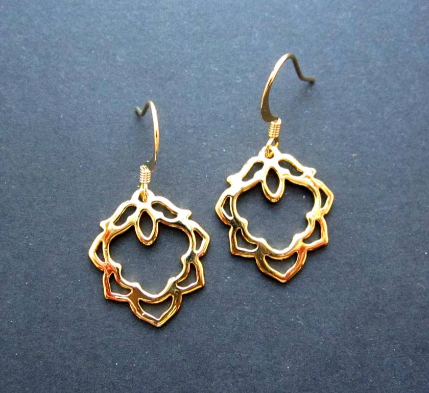 gold lotus flower earrings