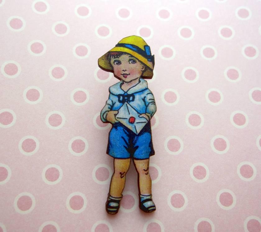 Sale - vintage girl woodcut brooch