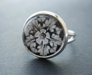 20% off with voucher code SALE - black and white flower and leaf design silver ring