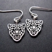 silver leopard earrings