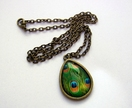 peacock feather teardrop glass dome necklace