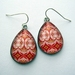 vibrant pink and red patterned teardrop earrings