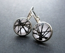 glass dome black lines earrings