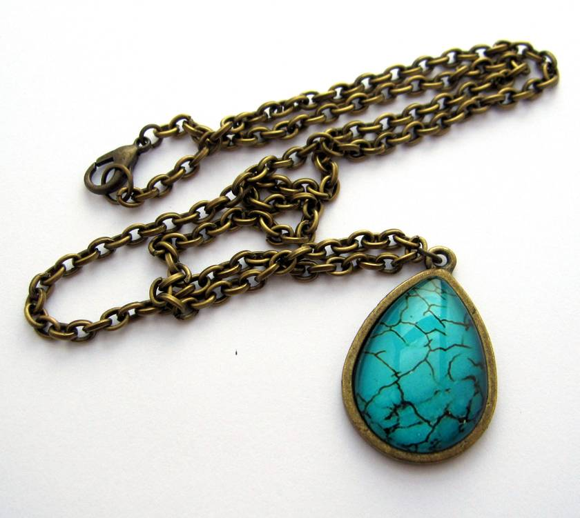 turquoise teardrop glass dome necklace