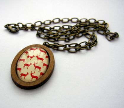 Deer glass dome necklace