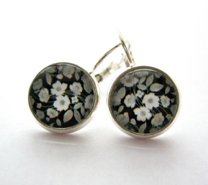glass dome black and white floral earrings